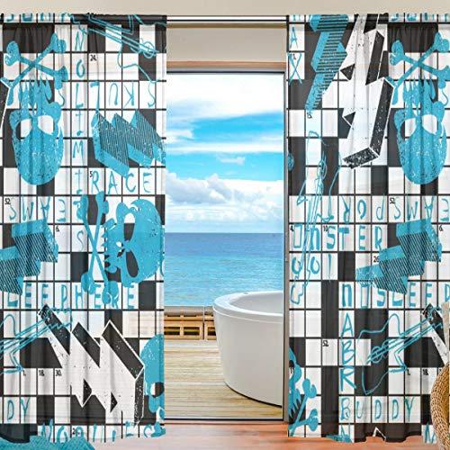 DOSHINE Vorhang mit Kreuzworträtsel Puzzle Totenkopf Vorhänge Fenster Vorhang für Jungen Mädchen Wohnzimmer Badezimmer Schlafzimmer 139,7 x 198 cm 2 Panels, Polyester, Multi, 55