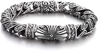 Retro Style Tribal, Mens Steel Cross Charm Vintage Link Chain Bracelet Spring Clasp, 8.7 Inches