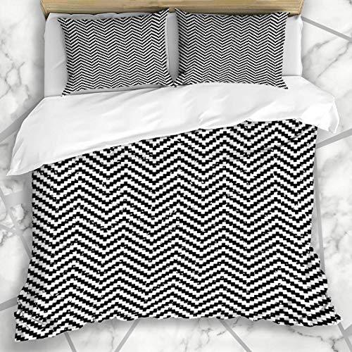 Soefipok Duvet Cover Sets Vintage Black White Pixel Digital Abstract Pattern Geometric Graphic Graphical Line Modern Design Microfiber Bedding with 2 Pillow Shams