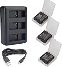 Newmowa Replacement Battery (3-Pack) and 3-Channel Charger for Gopro Hero5 Hero6 Hero7 Black Hero 2018 and GoPro AHDBT-501 AABAT-001 Battery