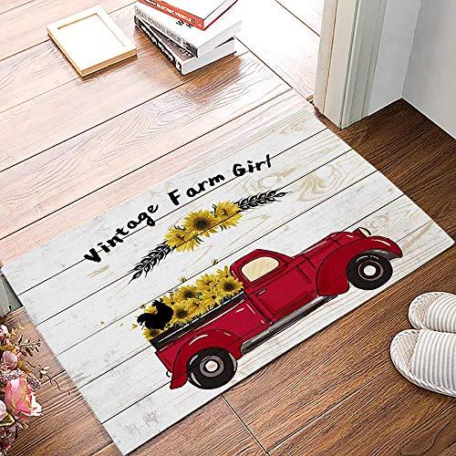 Amanda Walter Alfombrilla para Puerta Delantera, Vintage Farm Girl Red Truck Pull Girasol en Retro Tapete de Bienvenida de Madera Tapete para Puerta de Entrada Tapete para Piso