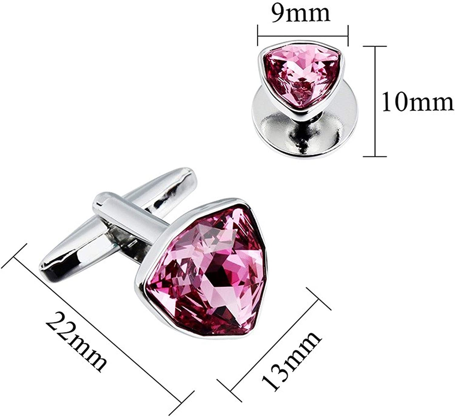 Triangle Crystal Cufflinks, Tuxedo Studs Set for Men 2Pcs Cuff Links with 6Pcs Studs Packed in Box Best Gifts (Color : Pink)