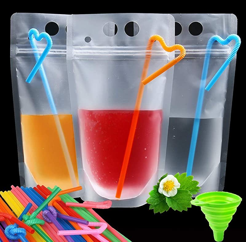 100 Pcs Smoothie Bags With Straws No Leakage Drink Pouches Bags Stand Up Disposable Drink Container For Freezing Juice Cold Hot Drinks Non Toxic BPA Free 100 Straws 1 Funnel Included