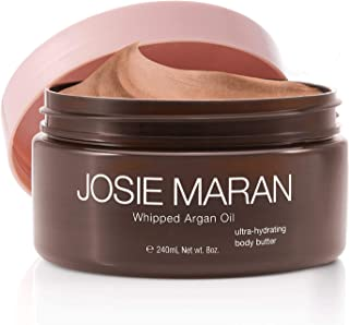 Josie Maran Whipped Argan Oil Illuminizing Body Butter - Restores Skin Softness and Improves Skin Texture - Light Bronze Shimmer (240ml/8oz, Vanilla Peach)