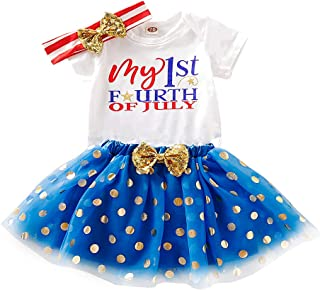 My 1st 4th of July Outfits Newborn Baby Girl Short Sleeve Romper Dot Print Tutu Dress with Bow Headband Independence Day Set