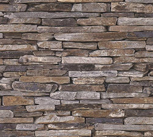 A.S. Création Vliestapete Best of Wood and Stone Tapete in Stein Optik fotorealistische Steintapete Naturstein 10,05 m x 0,53 m beige braun gelb Made in Germany 914217 9142-17