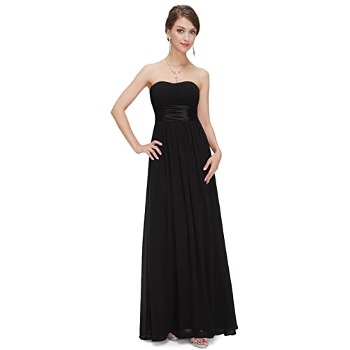 448141f82f26 Ever Pretty Strapless Ruched Bust Black Chiffon Long Evening Party Dress  09955