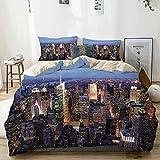 Juego de funda nórdica beige, vista aérea de la ciudad de Nueva York llena de rascacielos Manhattan Times Square Panorama del paisaje urbano famoso, juego de cama decorativo de 3 piezas con 2 fundas d