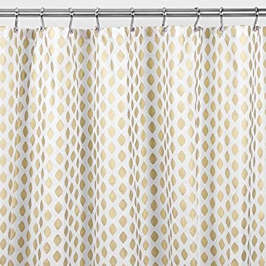 mDesign Diamond Fabric Shower Curtain - 72  x 72 , Gold/Metallic