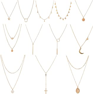 12 Pcs Layered Choker Necklace for Women Girls Handmade Dainty Chain Necklace Set Pearl Coin Circle Bar Moon CZ Star Pendant Necklace