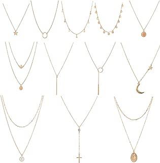 12 Pcs Layered Choker Necklace for Women Girls Handmade...