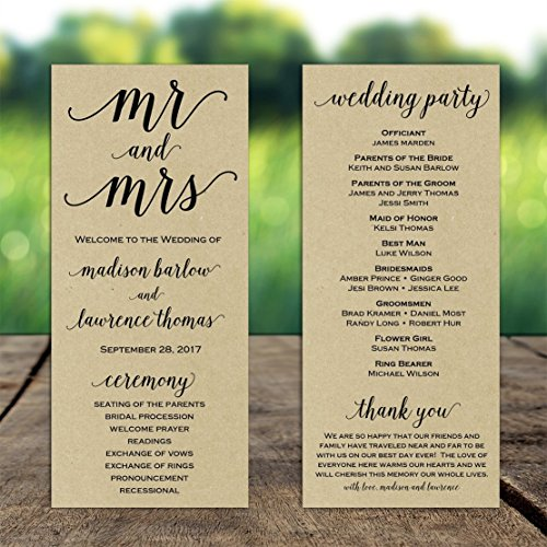 Wedding Program Mr and Mrs with ANY Wording Printed Kraft Paper
