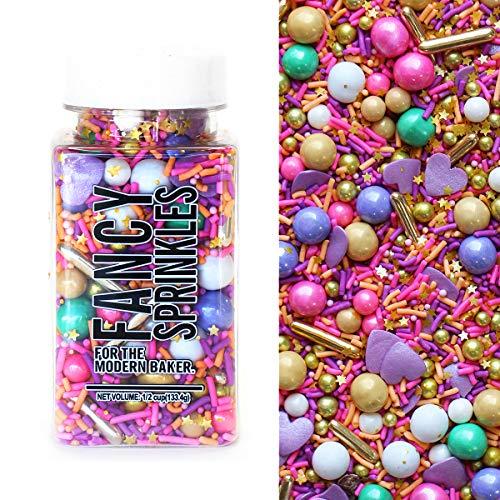 Fancy Sprinkles Bombshell Sprinkle Blend in Pink, Purple, Gold, Metallic Sprinkles 4 ounce