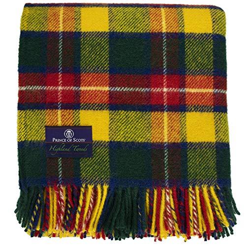 Prince of Scots Highland Tartan Tweed 100% Pure New Wool Fluffy Throw (Bright Buchanan)