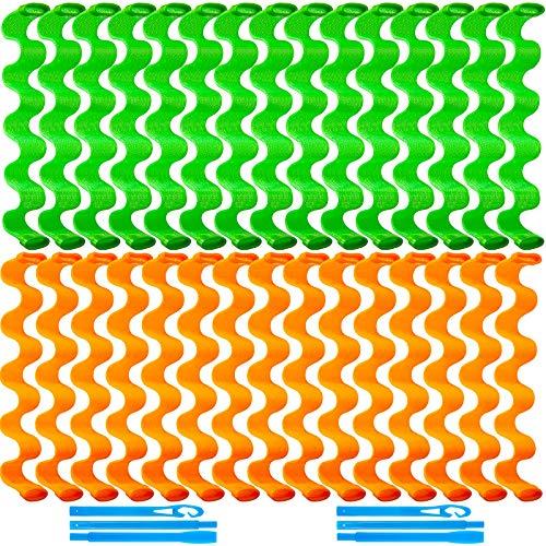 30 Stücke Haar Lockenwickler Spiral Locken Styling Kit Kein Hitze Haar Lockenwickler Hitzelose Spiral Lockenwickler Haarrollen Wellen Stil mit 2 Stücke Styling Haken (45 cm, Orange, Grün)