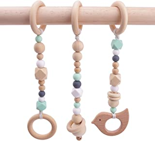 3pcs Baby Play Gym Toys Wood Ring Baby Wood Beads Chewable Rattle Silicone Teehing Baby Shower Gift Wooden Teether