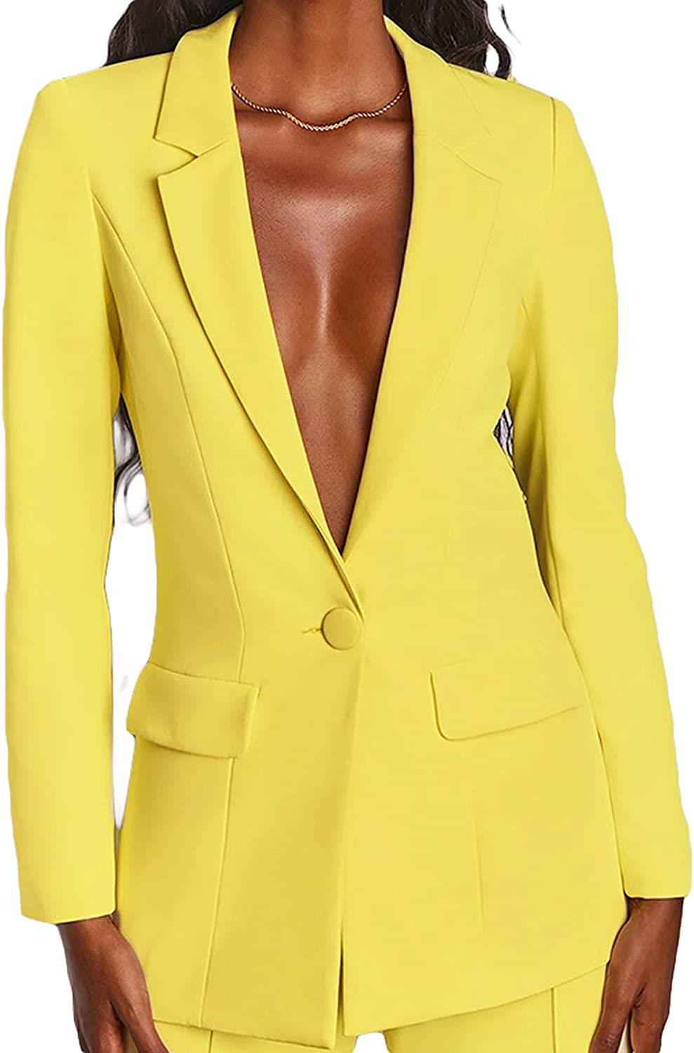 Blazer Jackets for Women Long Sleeve Single Button Tops + Long Trousers Set Loose Bussiness Casual Suit