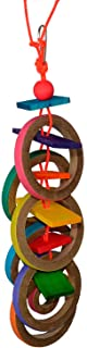 """Super Bird Creations SB625 Chewable Olympic Rings Bird Toy with Colorful Paper Bagels and Wooden Blocks, Large Size, 15"""" x..."""