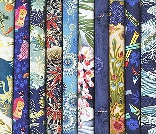 10 Blue Asian Japanese Fat Quarter Quilt Fabric Bundle #20 (2 1/2 Yards Total)