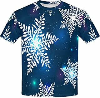 INTERESTPRINT Kids T-Shirts Santa Clause Candy Cane and Snowflake XS-XL