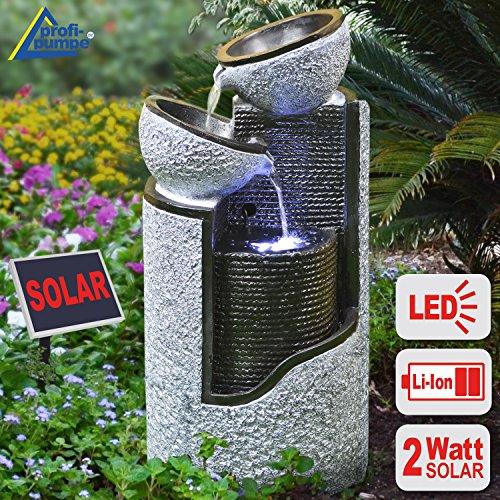 """FUENTE SOLAR EXTERIOR - FUENTE DE AGUA DECORATIVA EXTERIOR - FUENTE EN CASCADA - FUENTE SOLAR PARA JARDIN -""""Columna en granito & cuencos"""" contiene batería Li-Ion & luz LED"""