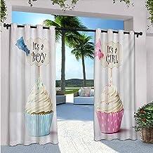 Gender ReveaOutdoor Rideaux de terrasse Motif garçon et fille avec cupcakes Bleu pâle et rose crème 213 x 248 cm
