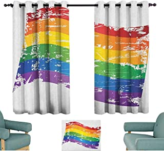 Vintage Rainbow,Kitchen Curtains Grunge Style Gay Pride Flag LGBT Community Themed Antique Rainbow Stripes 52