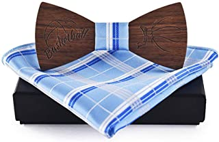 VAXT Conduct Men's Women's Wooden Wooden Bow Tie Cufflinks Handkerchief Business Butterfly Suit Tie Shirt Bow Tie (Color : Light blue, Size : 5 * 9.5cm)