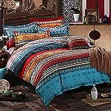 Lanqinglv Bohemian Bettwäsche 220x240 cm 3 Teilig Boho Indischen Mandala Bettwäsche Set Renforce mit Reißverschluss Bettbezug und Kissenbezug 80x80cm (WCF,220x240