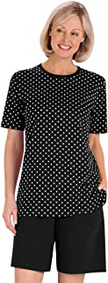 AmeriMark Polka Dot Top and Solid Color Short Set Two Piece Outfit for Women