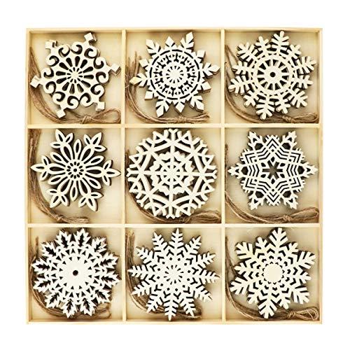 FHzytg 36 Stück Schneeflocken aus Holz, Schneeflocke Christbaumschmuck Anhänger Weihnachten Holz Schneeflocke mit Jute Schnur für Weihnachtsschmuck, Baumschmuck, Weihnachtsdeko, Basteln (9 Designs)