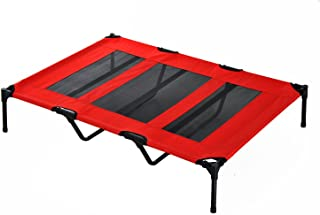 PawHut 48 x 36 Elevated Folding Dog Cot Cooling Summer Pet Bed - Red