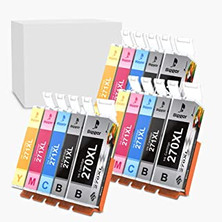 Bigger Compatible Ink Cartridge Replacement for Canon PGI 270 XL PGI-270XL CLI 271 XL CLI-271XL to use with PIXMA MG6820 MG5720 (3 Large Black, 3 Small Black, 3 Cyan, 3 Magenta, 3 Yellow, 15-Pack)