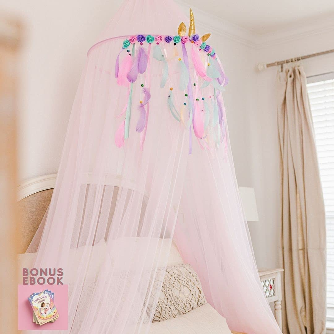 Jenn & Joos Unicorn Princess Pink Canopy for Girls Bed I Unicorn Princess Crib Canopy - Extra Large Dome with Two Layer of Long Soft and Breathable Chiffon Fabric I Reading Nook Canopy for Girls