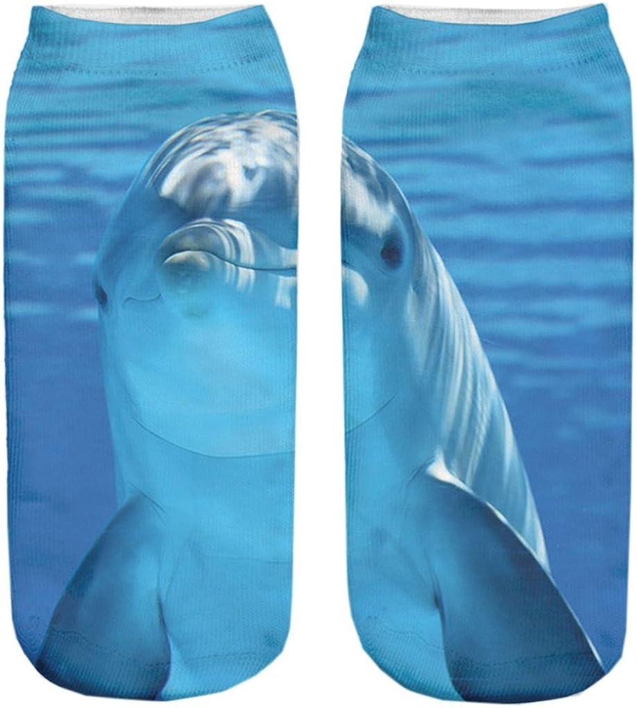 Doxi Dauphin Low-cut Ankle Socks Print Cotton Kawaii Style Free Size