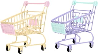 Amosfun 2 st mini kundvagn leksaker barn låtsas leka mini stormarknad shoppingvagn leksaker barn lekhus leksak gåvor (gul ...