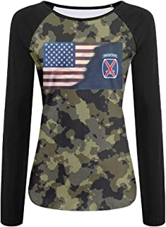 PEPERFASHION Women's US Army 10th Mountain Division Patch Decal Long Sleeve Jersey Baseball Tee Raglan T-Shirts