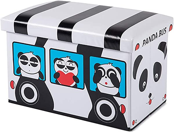 Folding Storage Ottoman With Foam Cushion Seat Washable Faux Leather Foot Rest Stools For Kids Adorable Panda Bus Shaped Pink 19 X 12 X 12 Inches