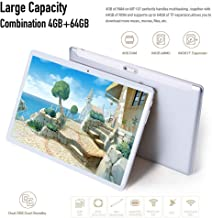 Tablet 10 Inch 2.5D Tempered Glass HD Display Dual SIM Card Slot Tablet,Android 7.0,4GB RAM +64GB ROM,Octa Core Processor with Dual Camera/WiFi/Bluetooth/GPS (Silver)