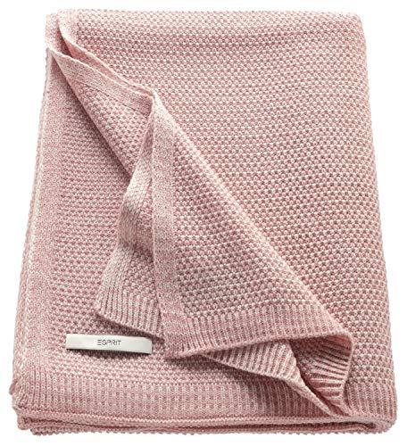 ESPRIT Knitted Kuscheldecke Rosa • Strickdecke 130 x 170 cm • sehr weich und pflegeleicht • Temperatur ausgleichend • ideal für kühle Sommer Nächte