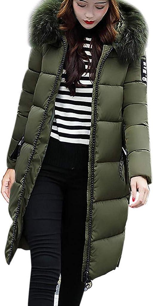 WUAI-Women Thicken Long Down Jackets Warm Faux Fur Hooded Parka Winter Puffer Overcoat Plus Size