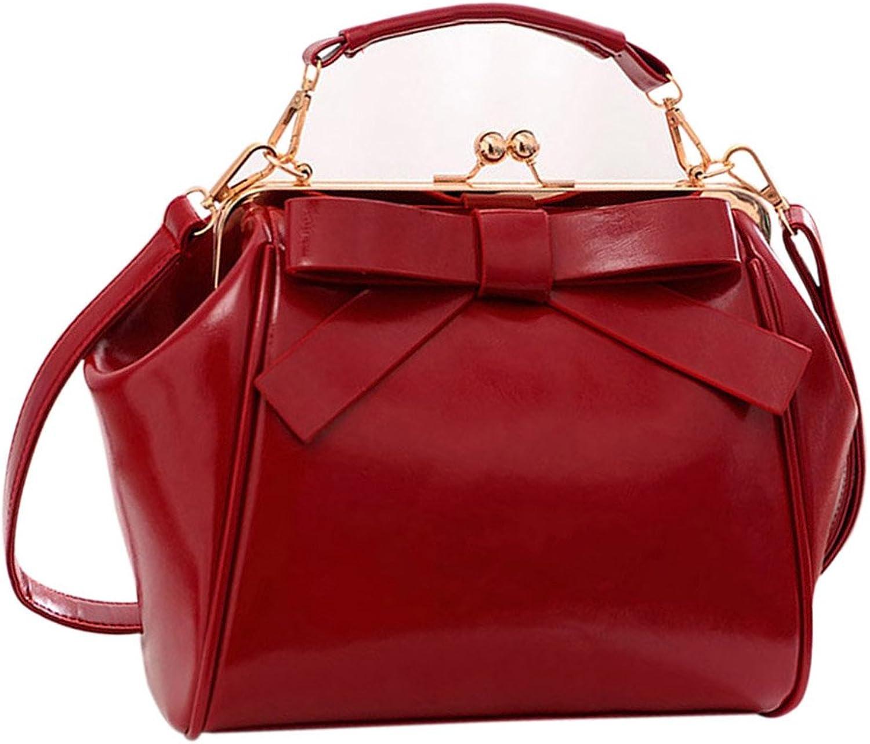Qianle Women PU Leather Cute Bow Patten Handbag Purse Girls CrossBody Bag