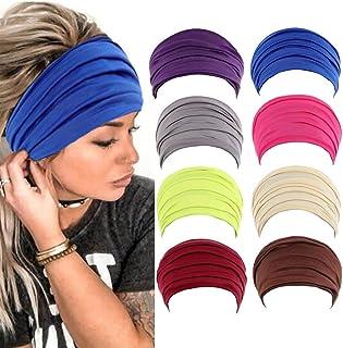 Fashey Wide Bobo Headbands Rust Multipurpose Hair Bands Yoga Stretchy Head Wraps Athletic Headwear Running Fitness Hippie ...