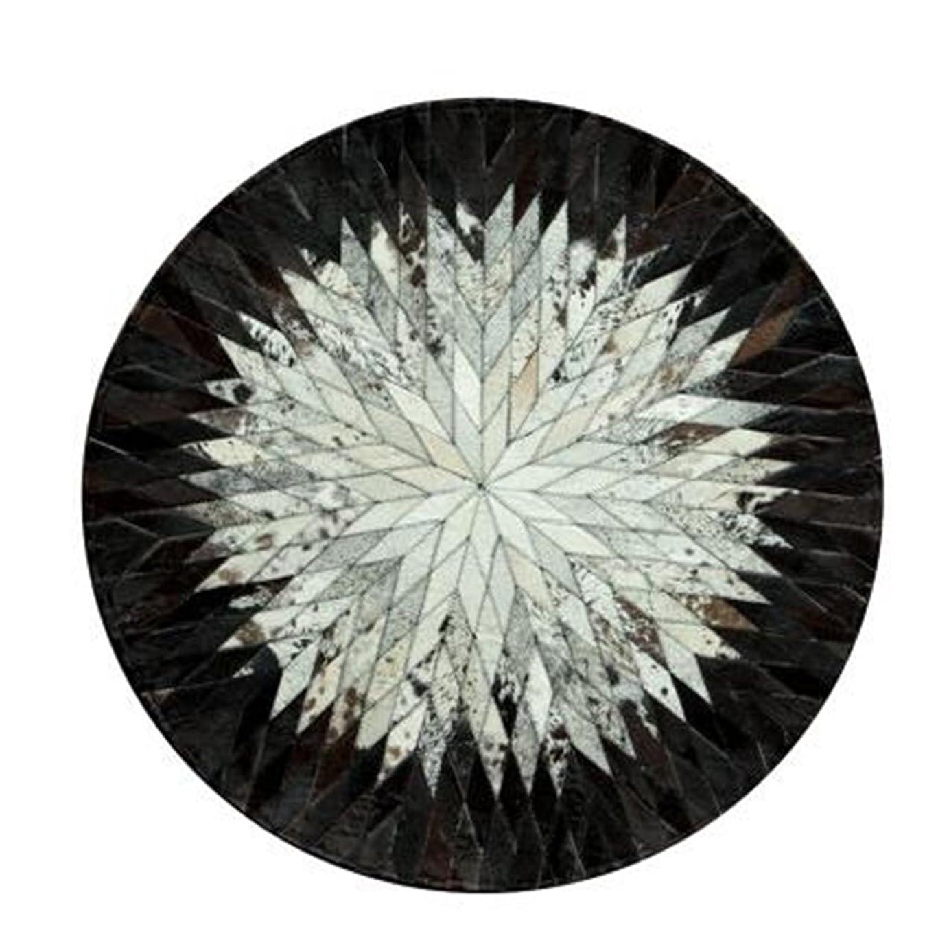 リンケージどれ危機レザーステッチラウンドラグスタディノルディックリビングルームコーヒーテーブルベッドルームベッドサイドカーペットタイルマット(白と黒のストライプ) (サイズ さいず : Diameter 150cm)