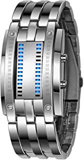 Mens LED Watches Binary LED Digital Waterproof Wrist Watches Stainless Steel Military Watch