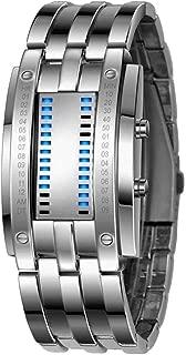 Binary Matrix Blue LED Digital Watch Mens Classic Creative Fashion Black Plated Wrist Watches