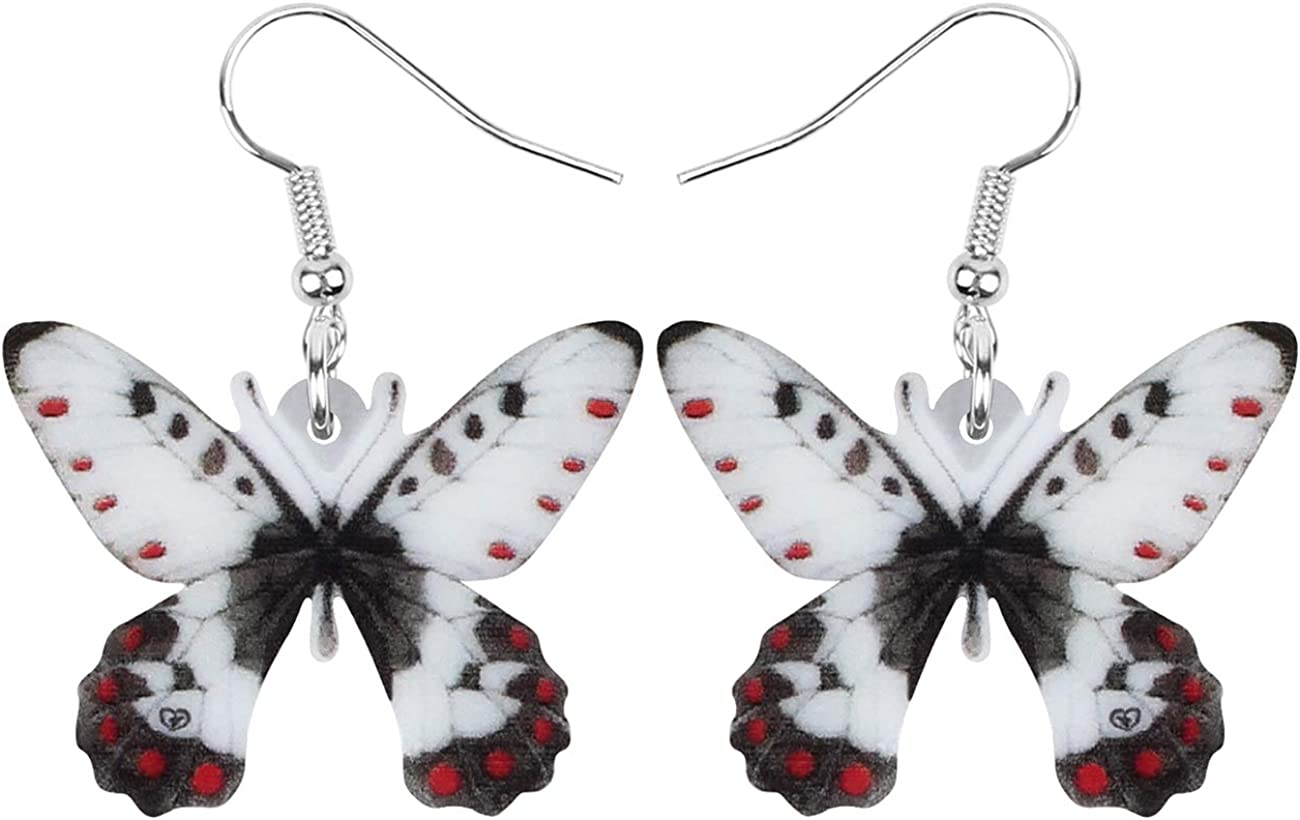 NEWEI Acrylic Apollo Mountain Butterfly Earrings Lovely Big Insect Animal Dangle Drop Jewelry For Women Girls Spring Gift