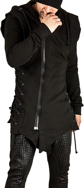 CNSTORE Men's Hoodie Jacket Zipper Assassins Creed Asymmetrical Loose Fleece Sweatshirt Outwear