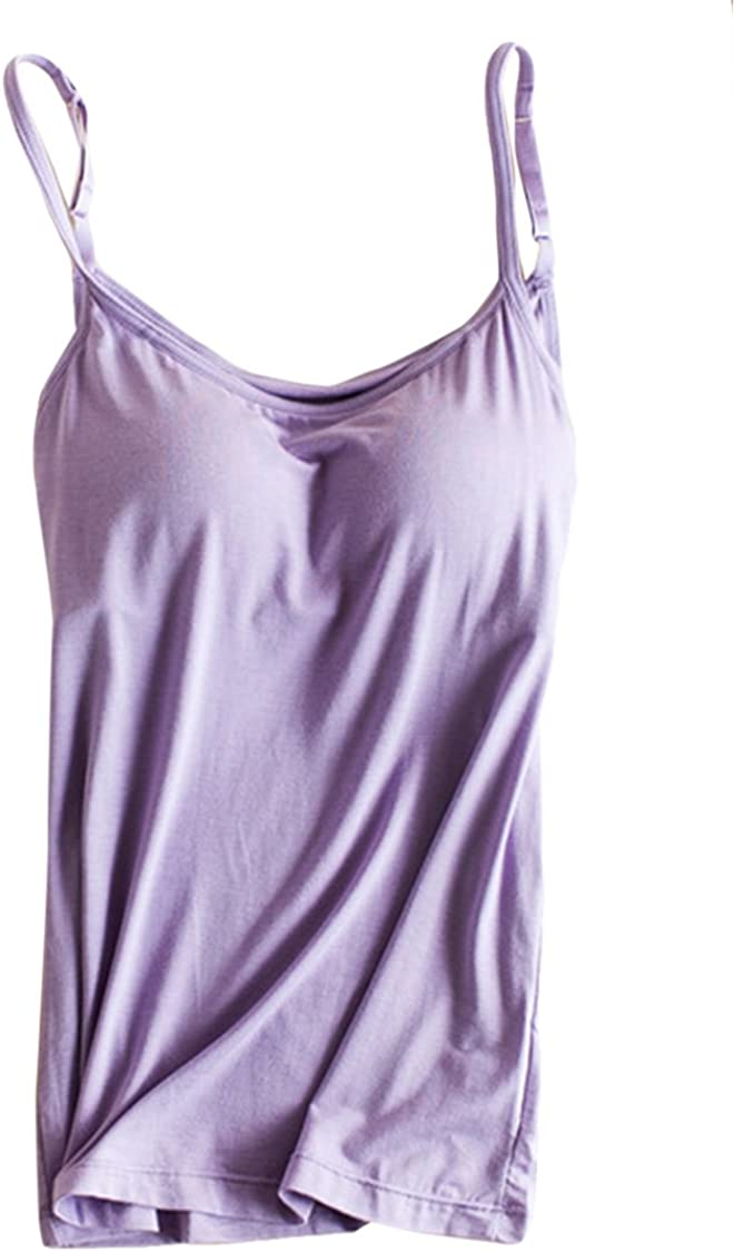 Women's Modal Camisole Padded Basic Cami Adjustable Spagehtti Straps Tank Tops Purple L