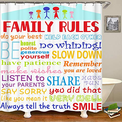HUKE Kids Shower Curtain Family Rules Shower Curtain Child Funny Quote Shower Curtain Educational & Inspirational Word Cloth Fabric Shower Curtain for Boys Girls,72x72 Inch Bathroom Accessories Set